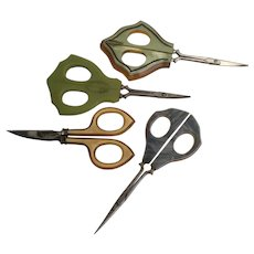 Vintage Estate 4 Plastic Handle Scissors.
