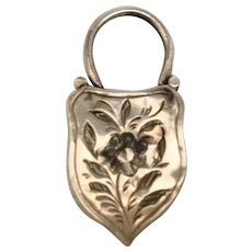 Beautiful Antique Engraved Silver and Agate Lock