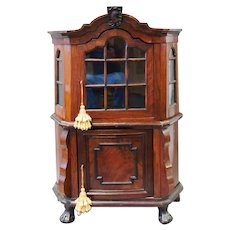 Darling 19C English Mahogany Miniature Cabinet ~ Doll or Childs  Cabinet. ~  Divine Two-part Diminutive Cabinet,