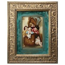 Superior Very Fine Framed Hand Painted Porcelain Plaque of Five Children in a Wicker Basket  ~ Signed Letricher ~ A MASTERPIECE!