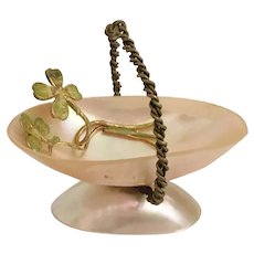 Antique Mother of Pearl Miniature Basket with Green Clover ~ A Wonderful Palais Royal Treasure