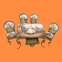 Antique Austrian Miniature Enameled Table & Chairs ~ 5 Charming  Austrian Pieces  ~  4 Chairs and a Table w Drawer
