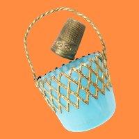 Palais Royal Blue Opaline Thimble Basket ~ Pretty Gilt Ormolu w Old Brass Thimble