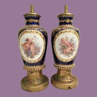 "Glorious 21"" Antique Sevres  Porcelain Cobalt Winged Cherubs Lamps ~ YES! A Magnificent Pair"