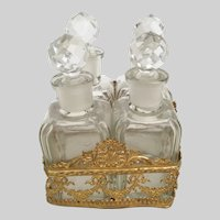 Antique French Empire Baccarat Style  Scent Set ~ Four Lovely Crystal Set Bottles w Cut Crystal Stoppers and Resting in a Glorious Gilt Ormolu Stand