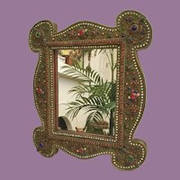 Vintage Jeweled Moroccan Style  Mirror ~ Awesome Brass Ormolu Wire  w  Large Assortment of Gems ~  Majestic Shape