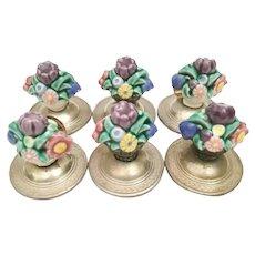"Charming Antique Sterling ""Porcelain Flowers""  Place Card Holder  ~ 6 Stunning Place Cards Holder STAMPED: GERMANY"
