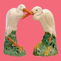 GRANDEST Antique Chinese Porcelain Egrets  ~ A PAIR