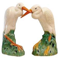 GRANDEST Antique Chinese Porcelain Egrets  ~ A PAIR