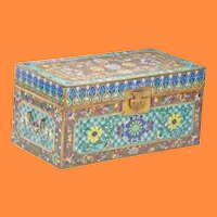 GRANDEST  Antique Chinese Double Handle Cloisonné Chest  ~ RARE and VERY FINE