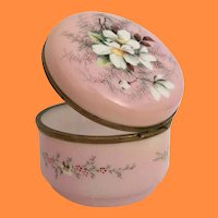 Antique French Hand painted Pink Opaline Casket Hinged Box ~  Smooth Gilt Mounts and S Clasp