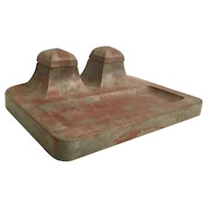 Giant Terracotta Double Inkwell with Porcelain Ink Pot ~  Absolutely GREAT and RARE