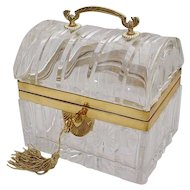Antique Baccarat Crystal Casket ~ Exquisite Bronze Handle ~  MAGNIFICENT