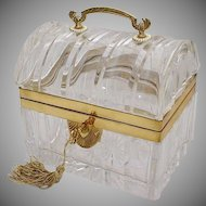 Antique Baccarat Crystal Casket ~ Exquisite Bronze Handle ~  MAGNIFICENT