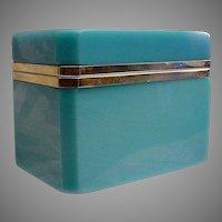 Antique  French Blue Opaline Casket Hinged Box~ Magnificent Blue Opaline