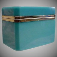 Antique  French Blue Opaline Casket Hinged Box~ Magnificent Blue Opaline