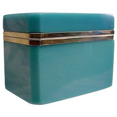 Magnificent  Antique  French Blue Opaline Casket Hinged Box