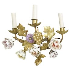 PAIR Antique French Porcelain Flower Bronze Sconces Wired for Electricity ~ Each Sconces has Three Branches  Mounted with Porcelain Flowers