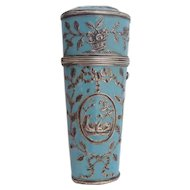 Antique  English Enamel Silver  Etui  ~ Gorgeous Blue and Silver with Swans, Baskets, Bows, and Garlands…A BEAUTY!