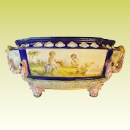 """Antique French Porcelain """"Putti"""" Bowl with RARE Figural Handles ~ Two Playful Winged Cherubs """"Putti"""" ~ A Magnificent BIG and Exquisite Center Bowl"""