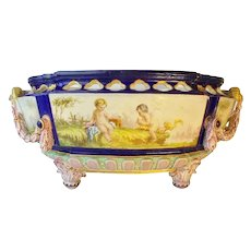 """Antique French Porcelain """"Putti"""" Bowl with RARE Figural Handles and Each Side has Two Playful Winged Cherubs """"Putti"""" ~ A Magnificent BIG and Exquisite Center Bowl"""