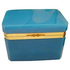 Antique Turquoise Opaline Casket Hinged Box ~ Great Color Opaline with Beautiful Smooth Gilt Mounts and Lift Clasp ~ A BEAUTY from My Treasure Vault.