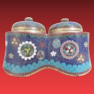 Antique Japanese  Cloisonné  Covered Double Inkwell ~ Magnificent Shape and Colors