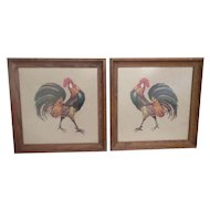 Vintage 1968 Framed  Needlepoint Roosters ~ PAIR
