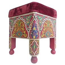 Vintage Estate Moroccan Hand painted Stool ~ Velvet Cushion ~ Beautiful Colors
