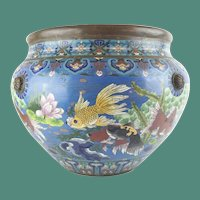 "Antique 20"" Chinese Cloisonné Cachepot ~ BIG! Fish and More Fish ~ Beautiful Size and Terrific Colors"