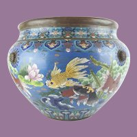 """Antique 20"""" Chinese Cloisonné Cachepot ~ BIG! Fish and More Fish ~ Beautiful Size and Terrific Colors"""