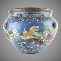 """Antique 20"""" Chinese Cloisonné Cachepot ~ BIG! Fish and More Fish ~ Beautiful Size and Terrific Colors ~ A Chinese Treasure from My Treasure Vault."""