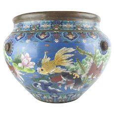 "Antique 20"" Chinese Cloisonné Cachepot ~ BIG! Fish and More Fish ~ Beautiful Size and Terrific Colors ~ A Chinese Treasure from My Treasure Vault."