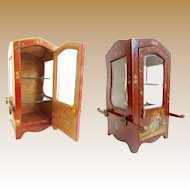 """19C Vernis Martin Style Miniature Sedan Chair or """"Chaise a Porteurs"""" Vitrine ~ Beveled Glass Sides lights & Beveled Glass Door ~ A Delightful Place for a Collection of Tiny Treasures"""
