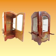"19C Vernis Martin Style Miniature Sedan Chair or ""Chaise a Porteurs"" Vitrine ~ Beveled Glass Sides lights & Beveled Glass Door ~ A Delightful Place for a Collection of Tiny Treasures"