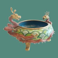 Antique Chinese Cloisonné Footed Bowl ~ Twin Dragons Handles ~ Terrific Colors and Size