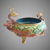 Antique Chinese Cloisonné Footed Bowl ~ Twin Dragons Handles~ Terrific Colors and Size ~ An Exquisite Cloisonné Bowl