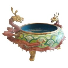 Antique Chinese Cloisonné Footed Bowl ~ Twin Dragons Handles~ Terrific Colors and Size ~ An Exquisite Cloisonné Bowl