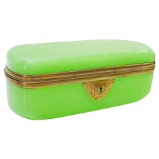 19C French Green Opaline Casket Hinged Box ~ Rare and Beautiful Oval Casket Hinged Box with Smooth Gilt Bronze Mounts ~ Terrific Color ~ A BEAUTY from My Treasure Vault.