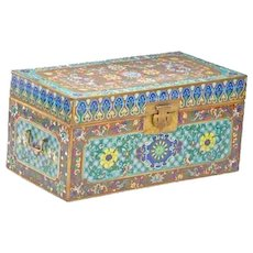 RARE Antique Chinese Double Handle Cloisonné Chest ~  AWESOME COLORS