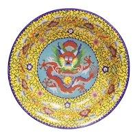 Antique Chinese Dragon Cloisonné Bowl ~ RARE YELLOW Cloisonné and Five Toe Dragon