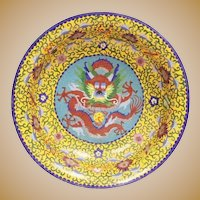 Fabulous Antique Chinese Dragon Cloisonné Bowl ~ RARE YELLOW Cloisonné and Five Toe Dragon