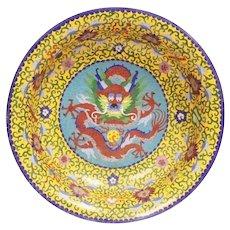 Fabulous Antique Chinese Dragon Cloisonné Bowl ~ RARE YELLOW Cloisonné and Five Toe Dragon