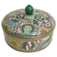 "Antique  6 ½"" Chinese Cloisonné Box  ~ Stunning Colors ~"