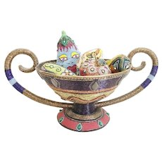 Bradley Levin's Beaded Fruit and Double Handle Bowl ~ Five Wonderful Pieces of Fruit ~ A Glorious One of a Kind Beaded Double Handle Bowl ~ Artist Signed
