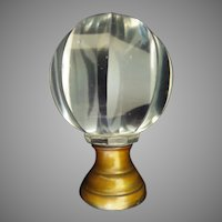 "Grandest GIANT Antique French Cut Crystal ""Mellon Shape Cut"" Newel Post Boule Escalier ~  Bronze Mounts"