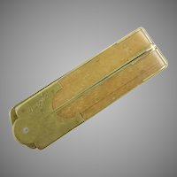 1879 Brass and Wood Fold Up Ruler ~ Monogrammed M A B 1879