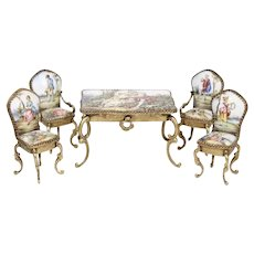 Miniature Austrian Enameled Table & Chair ~ 5 Charming Austrian Pieces ~ 4 Chairs and a Table with a Drawer ~ #3 Stamped