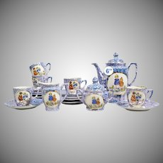 Antique German Child's Tea Set ~ A Darling Tea Set in Mottled Blue and Purple  ~ Scenes of Children and Animals