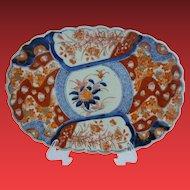 "12"" 19C  Imari Oblong Porcelain Scalloped Edge Bowl Plate ""MAGNIFICENT"""